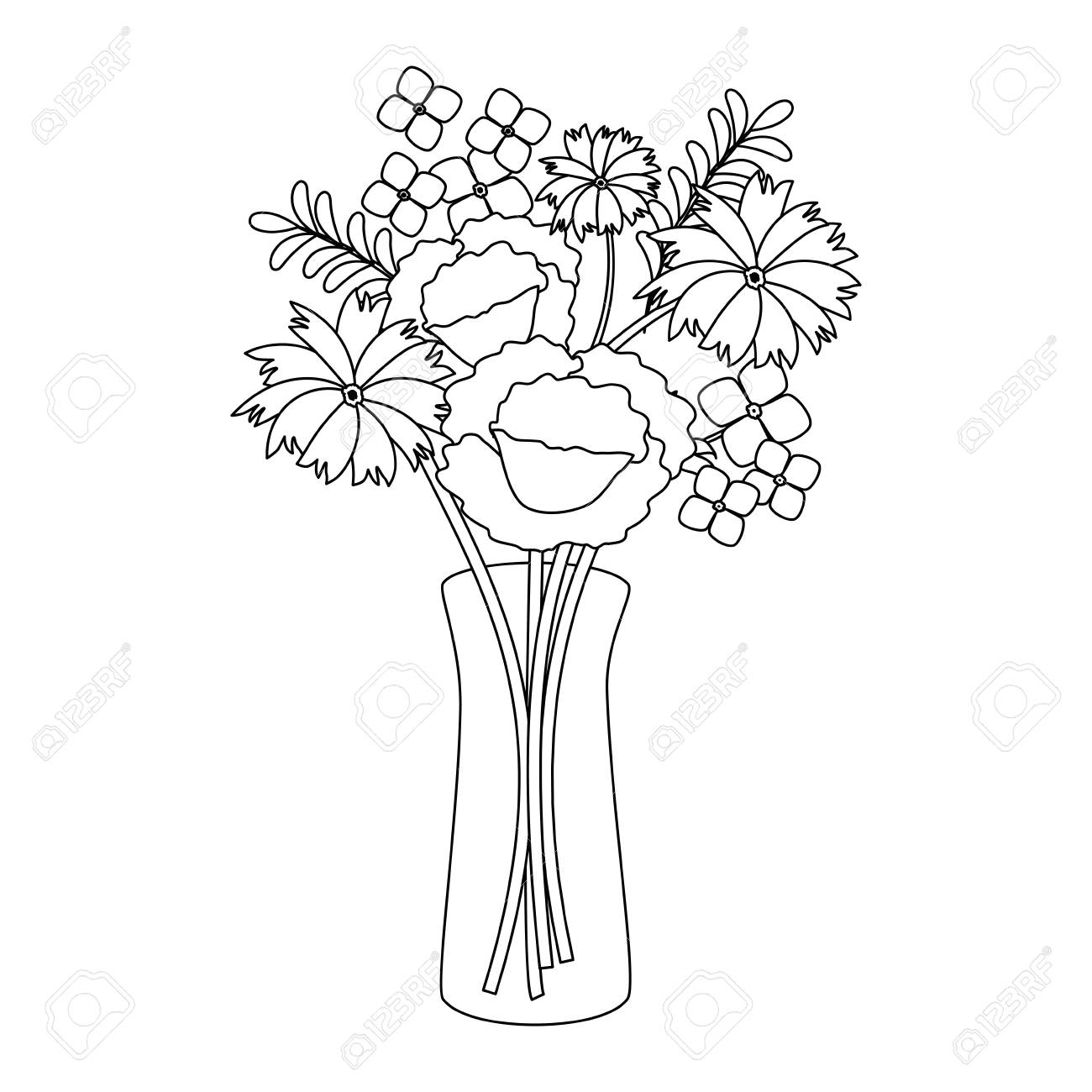 flowers decoration in vase vector illustration design on books vector, basket vector, art vector, box vector, decor vector, candle vector, animals vector, roses vector, floral vector, pottery vector, mirror vector, beer mug vector, teapot vector,