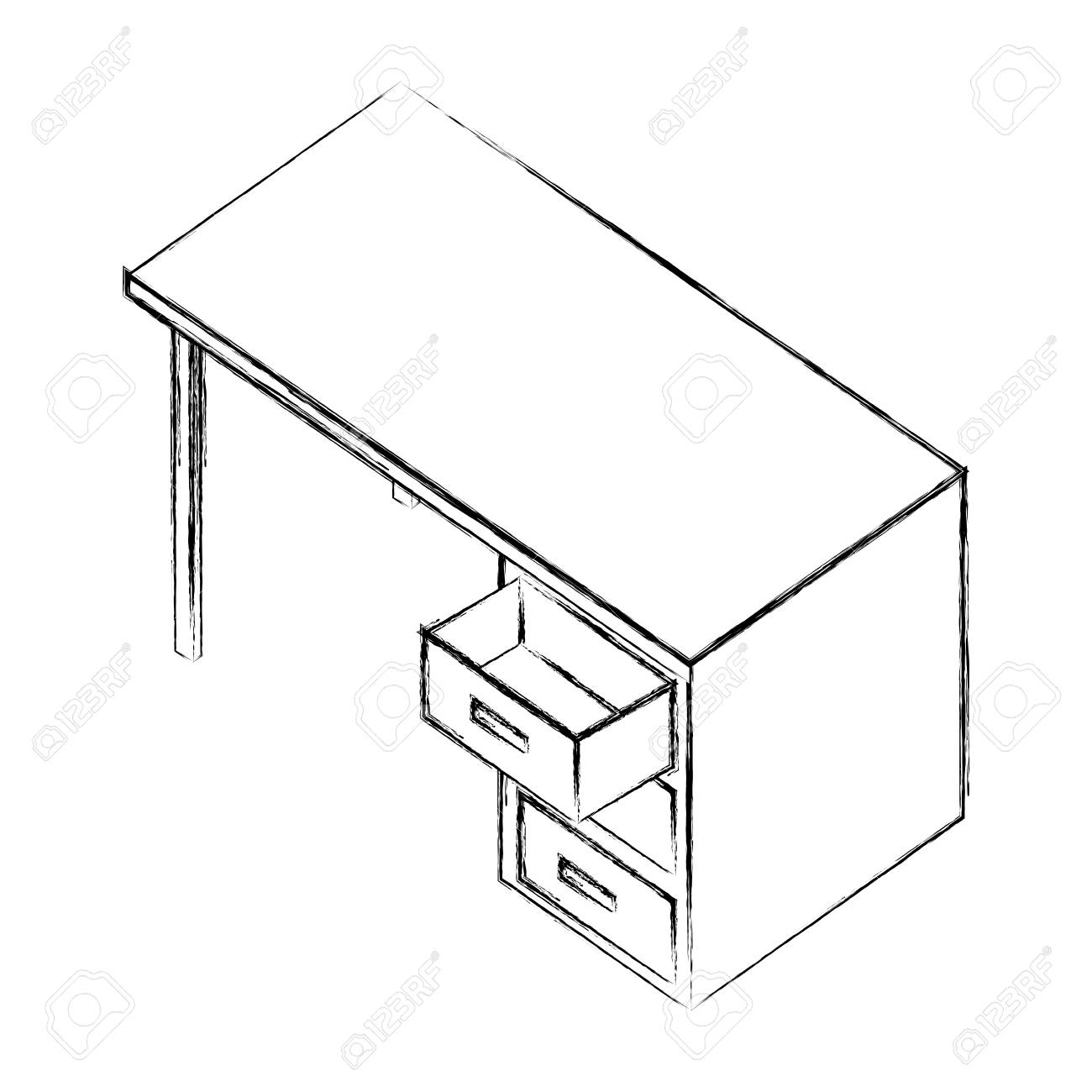 Office Desk Furniture Drawers Isometric Image Vector Illustration Royalty Free Cliparts Vectors And Stock Illustration Image 101511740