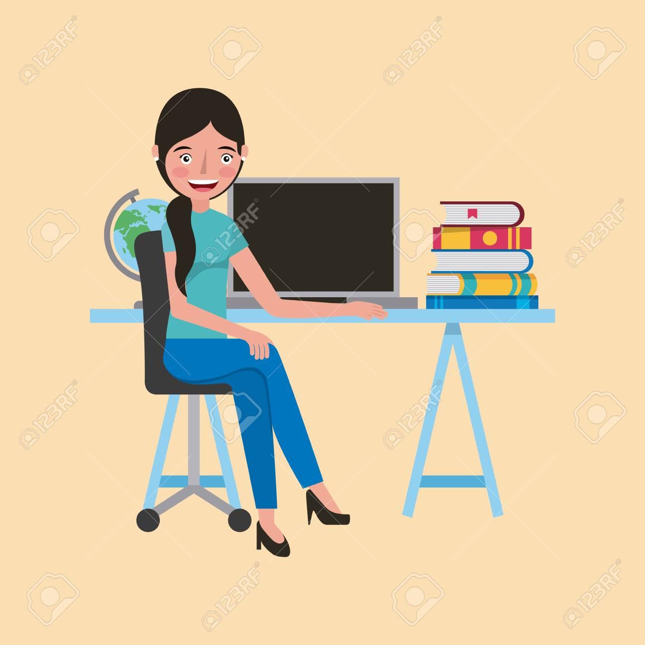 Seniors Learning Computer Illustration 12731810 - Megapixl