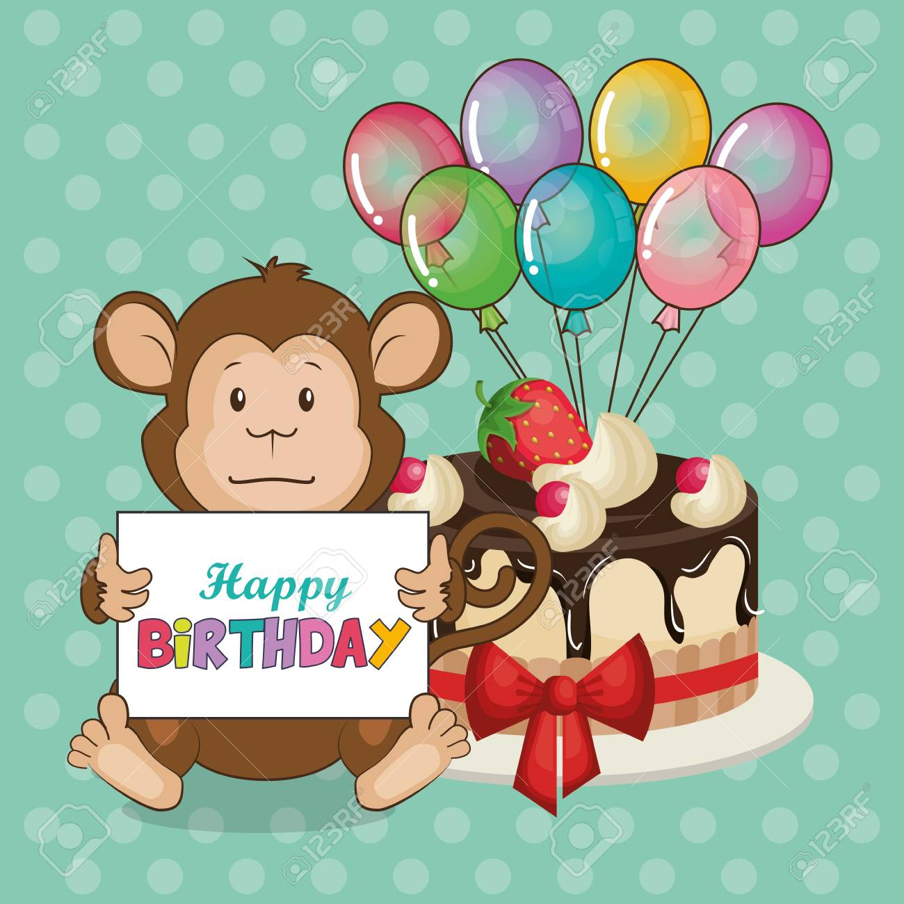 Happy Birthday Card With Cute Monkey Vector Illustration Design Stock
