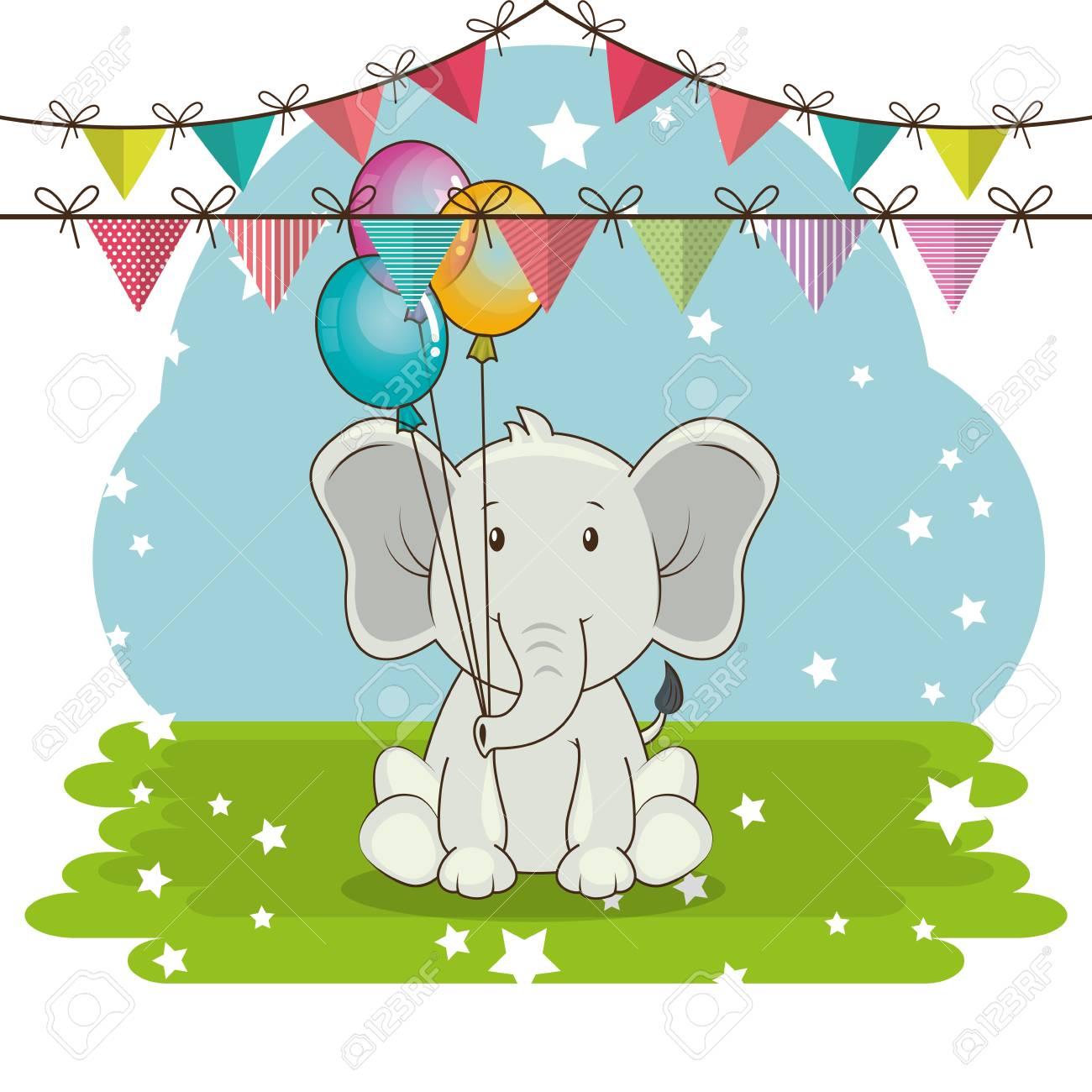 Happy Birthday Card With Cute Elephant Vector Illustration Design Stock