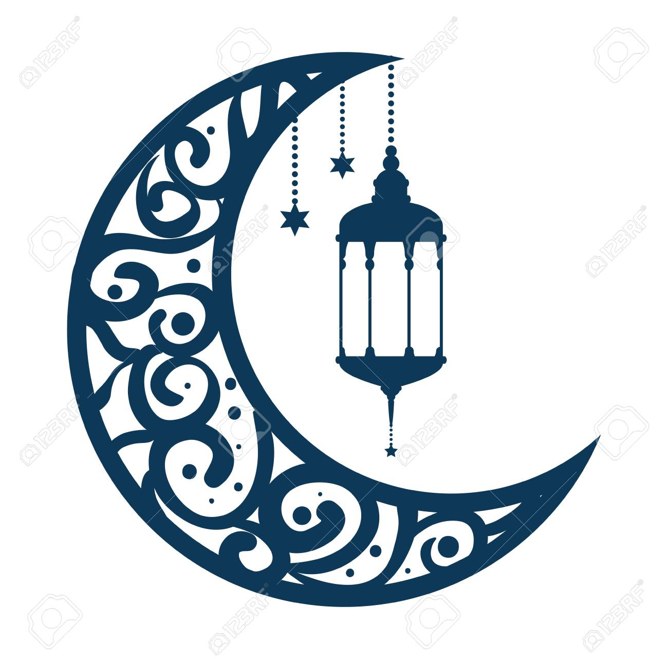 ramadan kareem moon with lamps hanging vector illustration design - 102029899