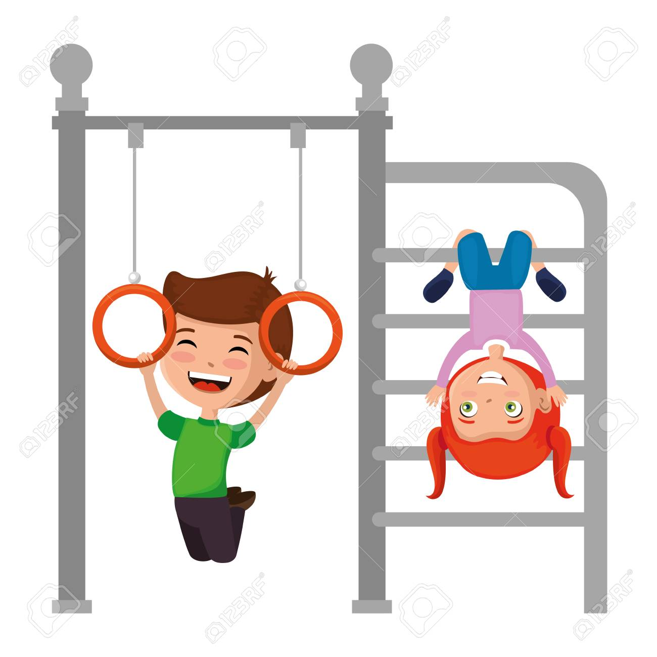 kids playing in park playground rings hanging vector illustration design - 102263091