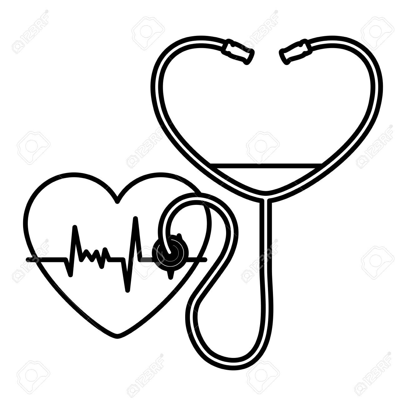 heart cardiology with stethoscope vector illustration design - 102357882