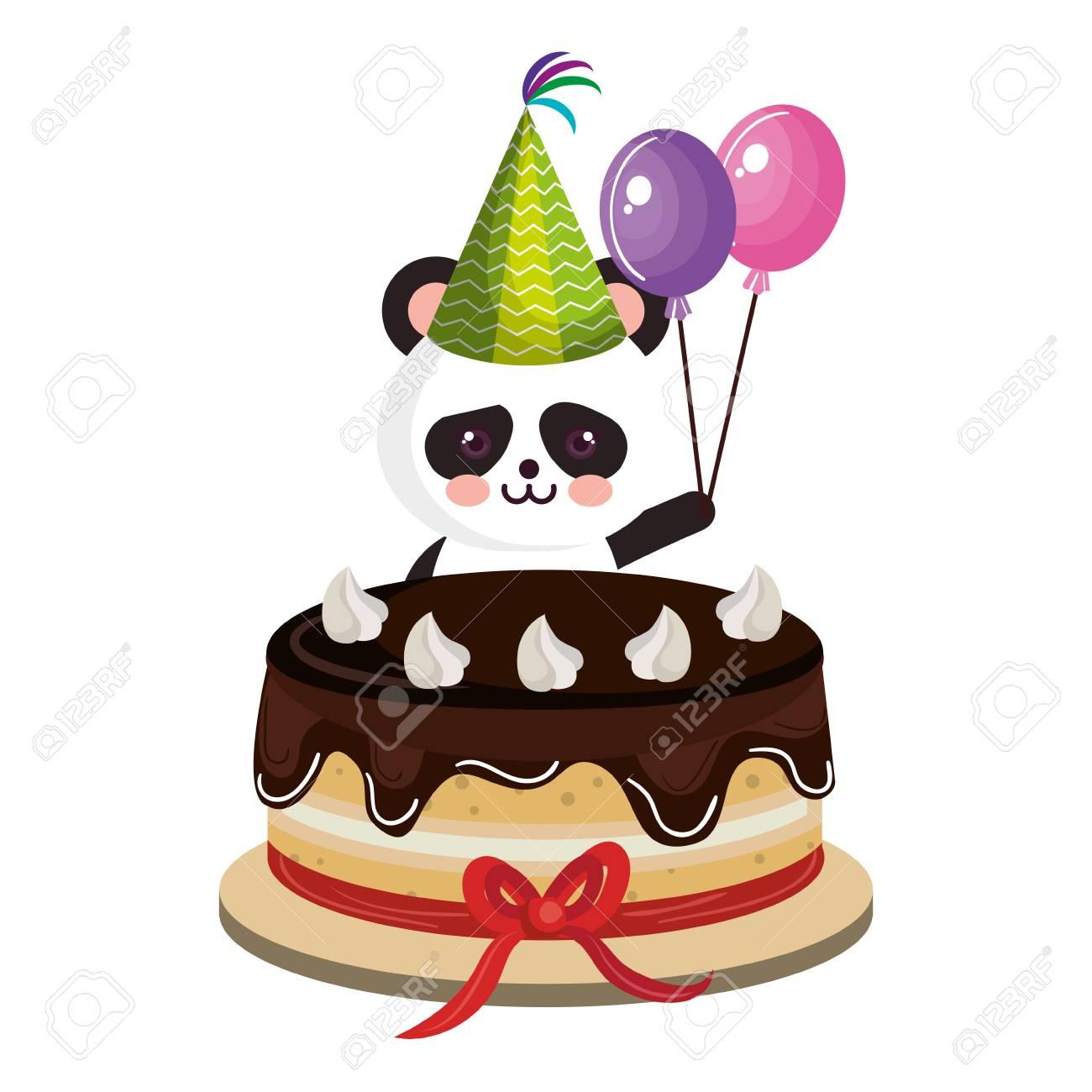 Cute Bear Panda With Sweet Cake Character Vector Illustration