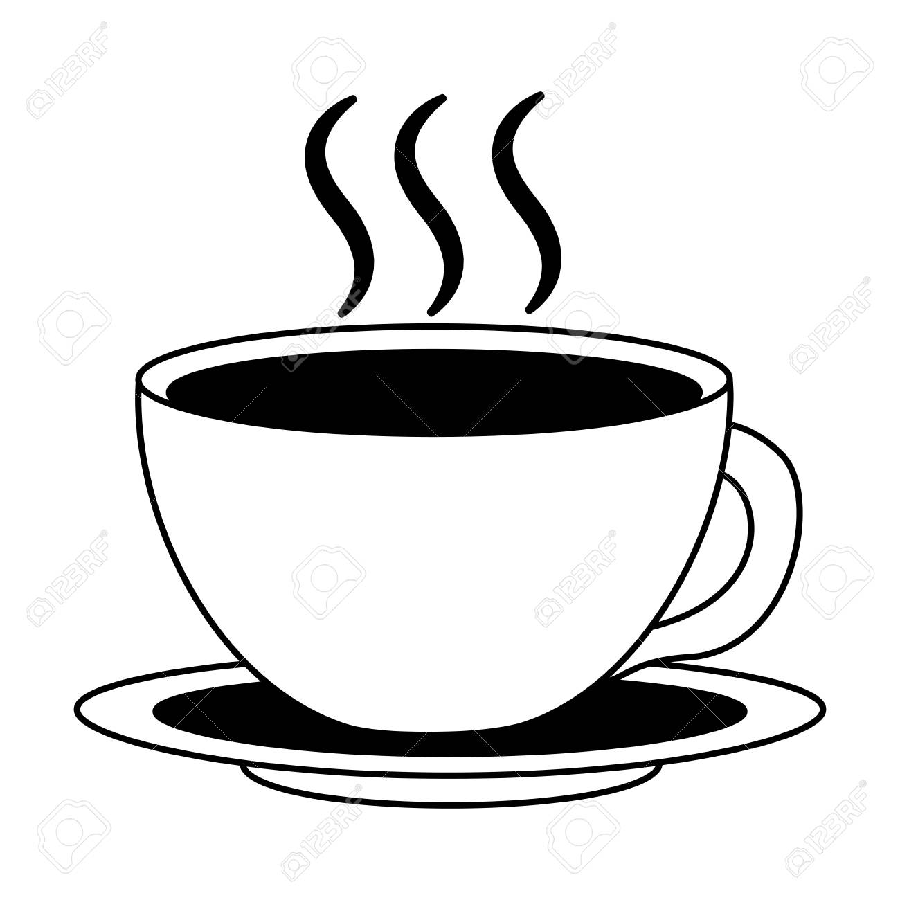 Coffee Cup Hot Fresh Aroma On Saucer Vector Illustration Black Royalty Free Cliparts Vectors And Stock Illustration Image 102504827