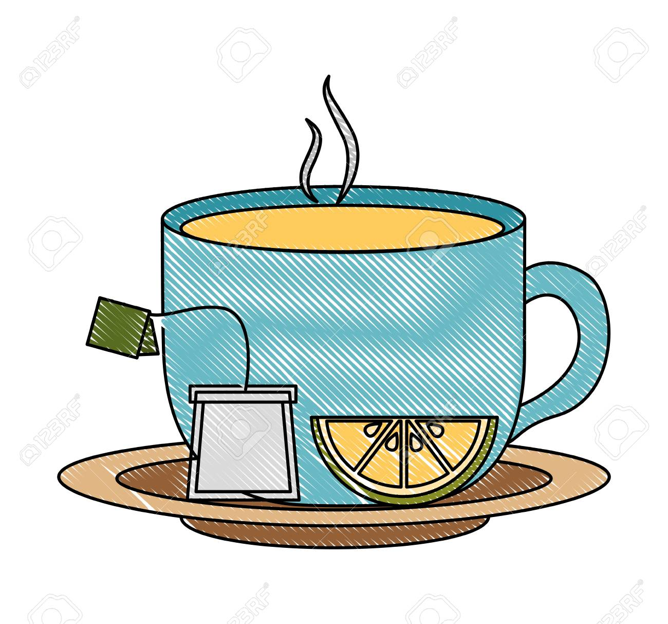 Tea Cup Hot With Lemon Leaves Bag On Dish Vector Illustration Royalty Free Cliparts Vectors And Stock Illustration Image 102490951