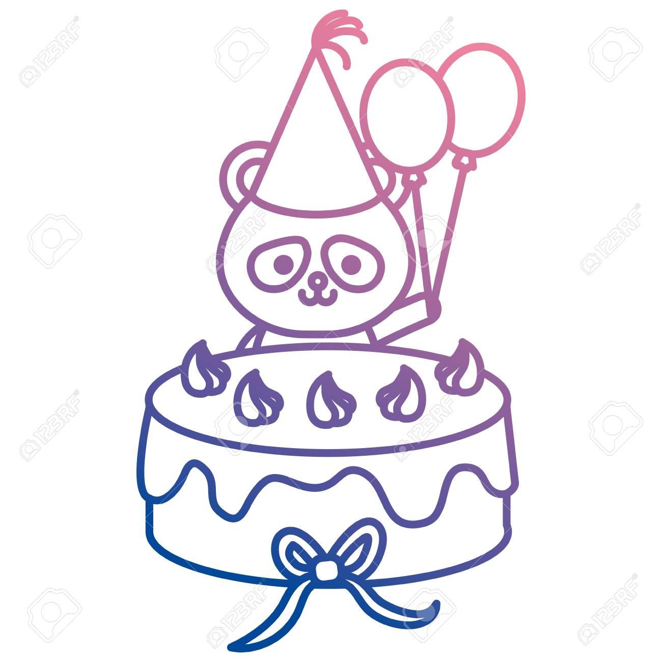 Cute Bear Panda With Sweet Cake Character Vector Illustration Design