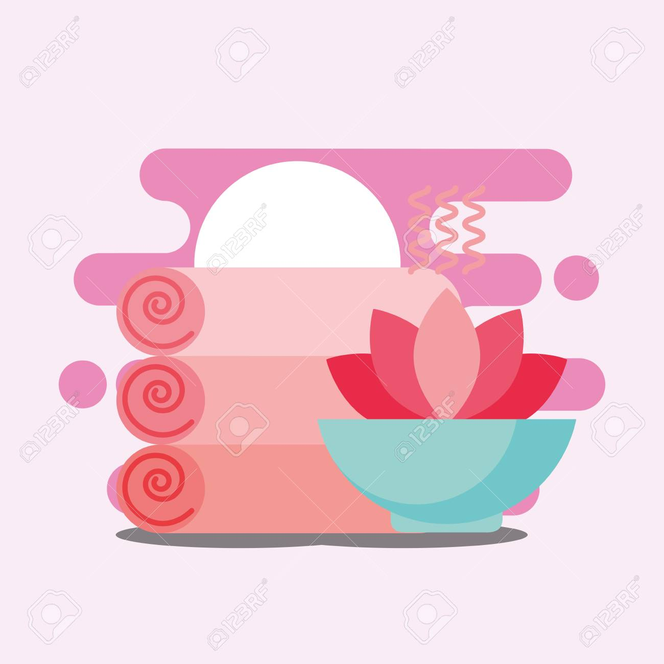 Massage towels and lotus flower spa wellness vector illustration massage towels and lotus flower spa wellness vector illustration stock vector 102999288 izmirmasajfo
