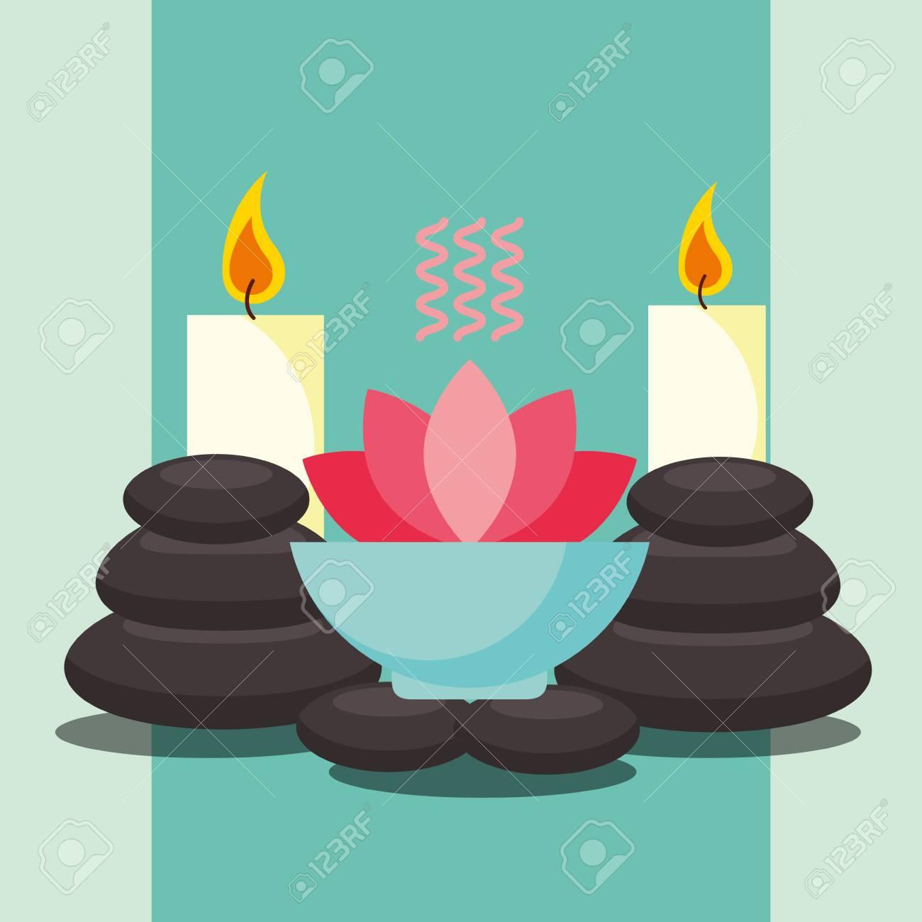 Aromatherapy Lotus Flower Massage Stone And Candles Spa Wellness