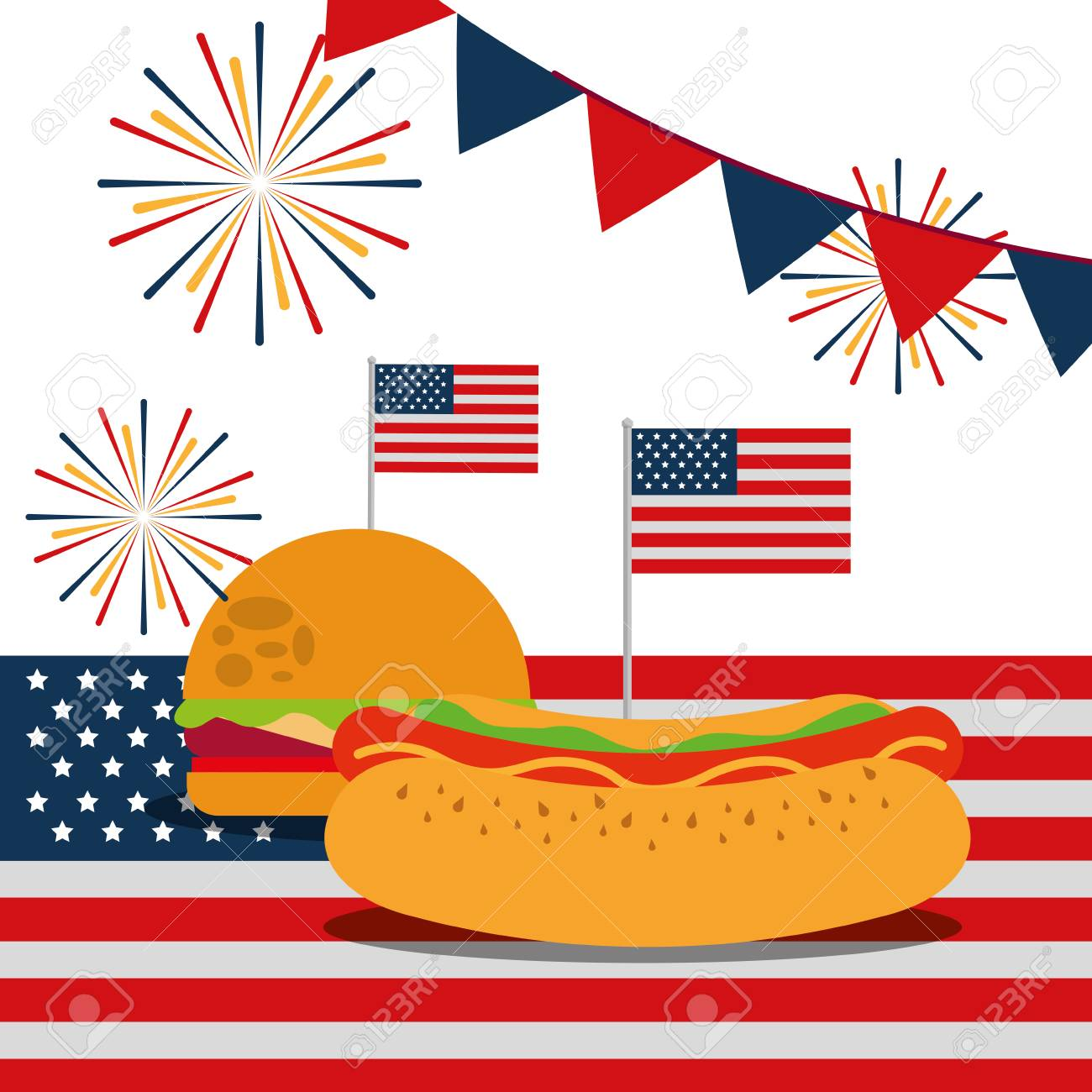 e90278682af food american independence day pennants usa flag fireworks hamburger hotdog  vector illustration Stock Vector - 102995714