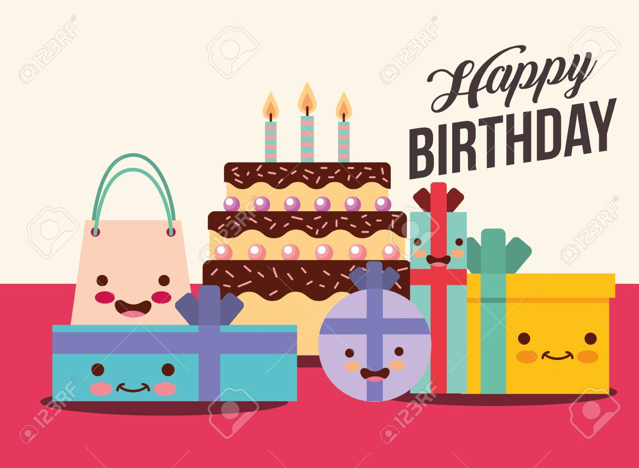 Set Of Gift Boxes And Cake Cartoon Happy Birthday Card Vector