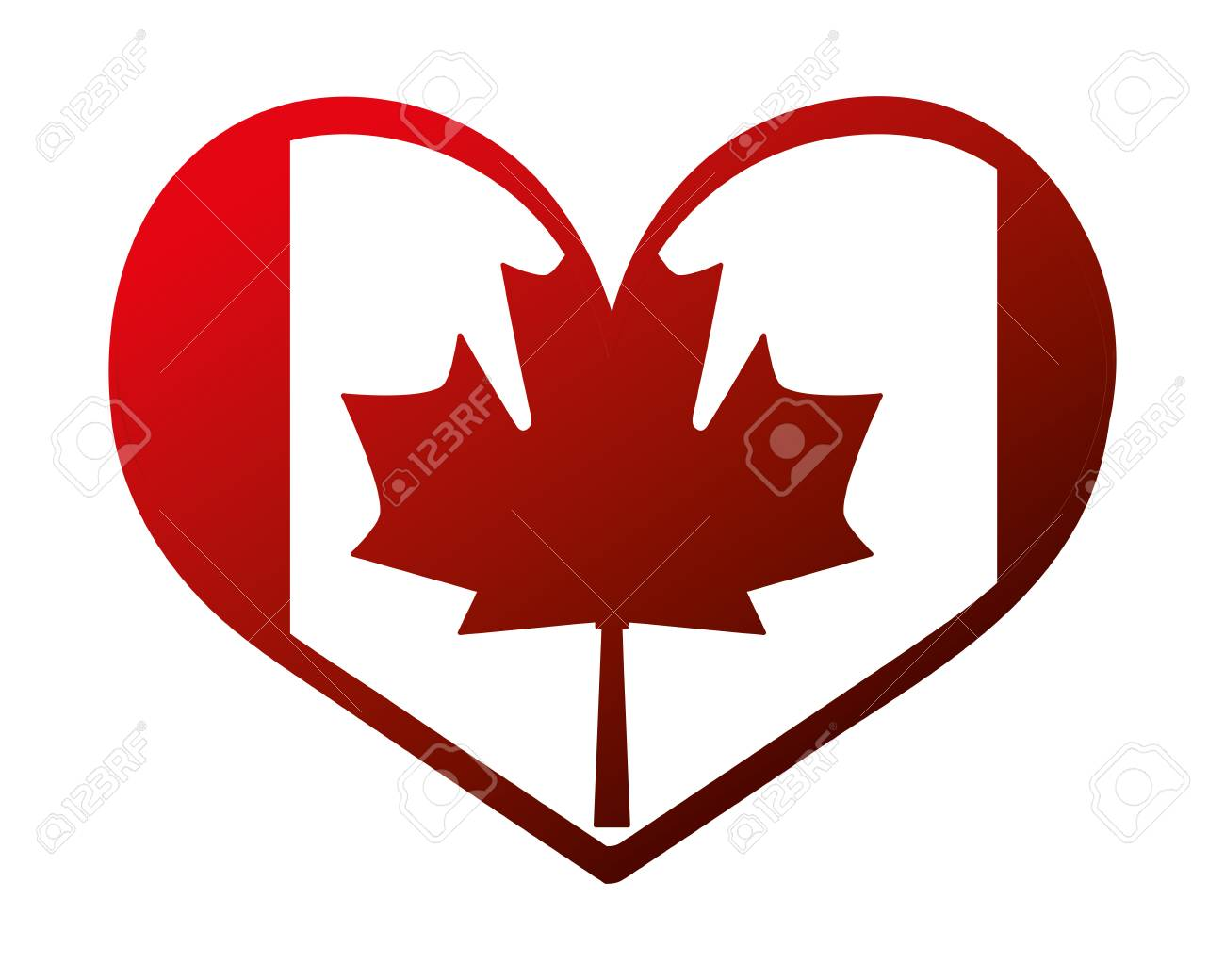 canada day canadian flag in heart vector illustration neon - 103045848