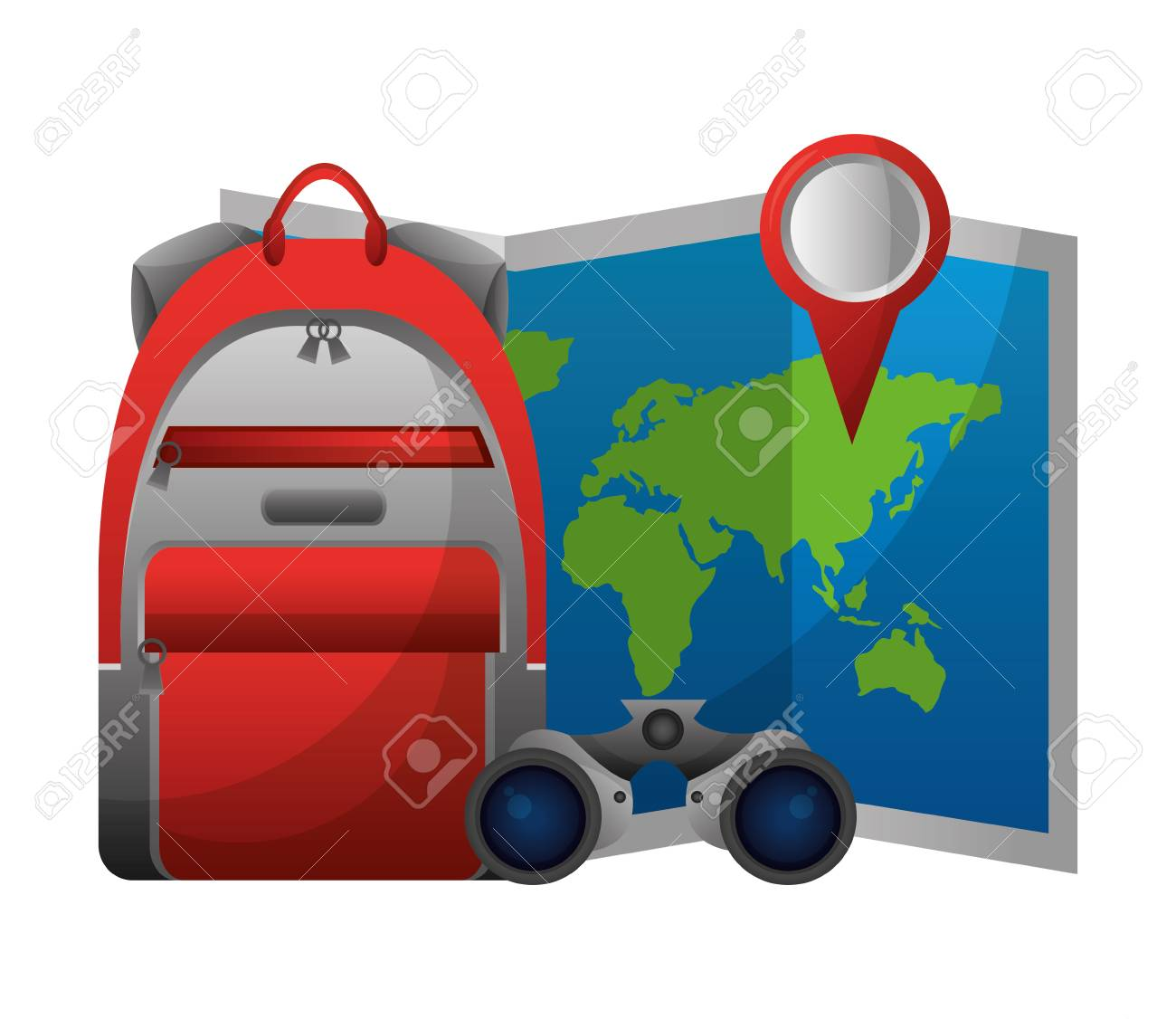 World paper map with binoculars and handbag vector illustration vector world paper map with binoculars and handbag vector illustration design gumiabroncs Images