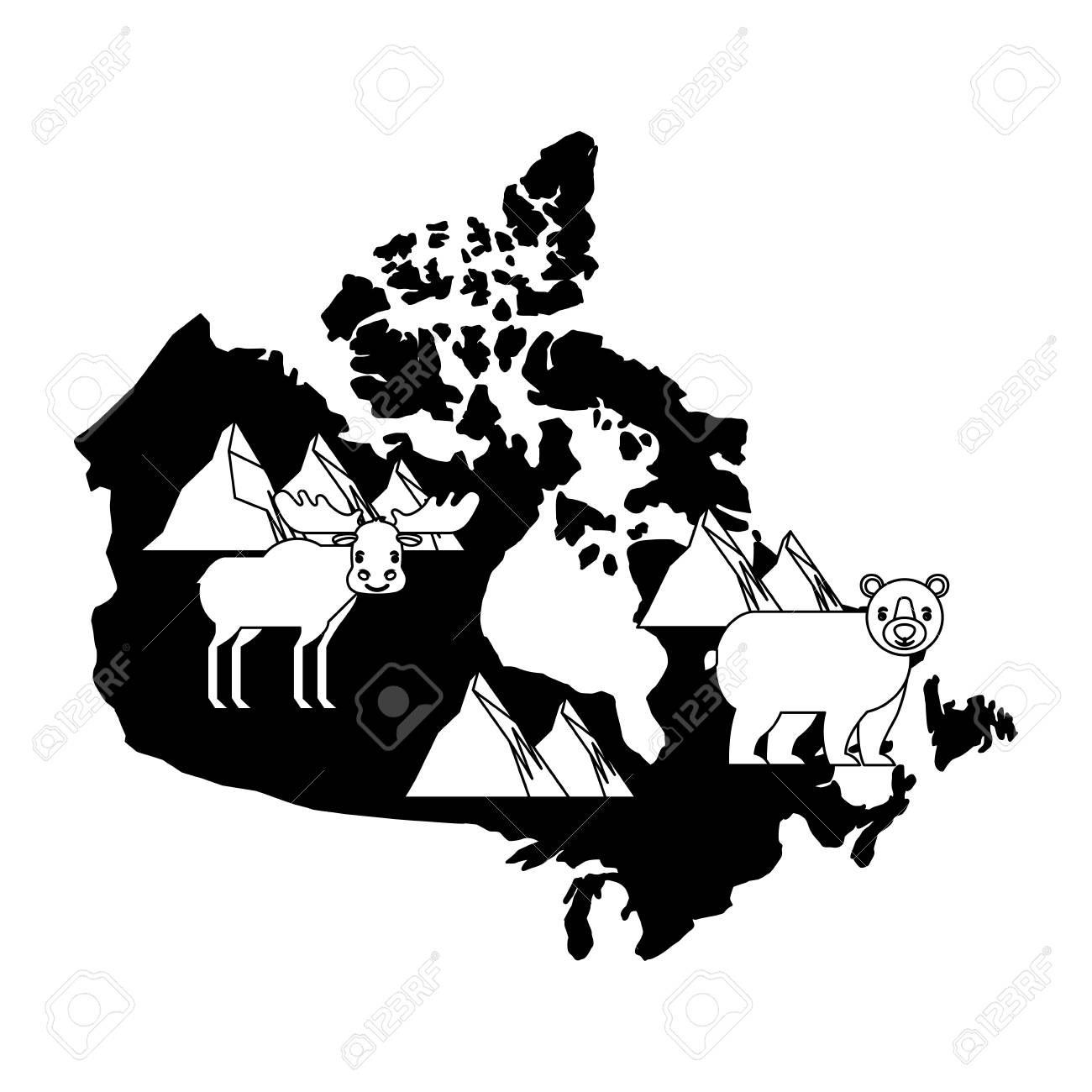 Map Of Canada Silhouette.Canada Map Silhouette With Reindeer And Bear Grizzly Vector Illustration