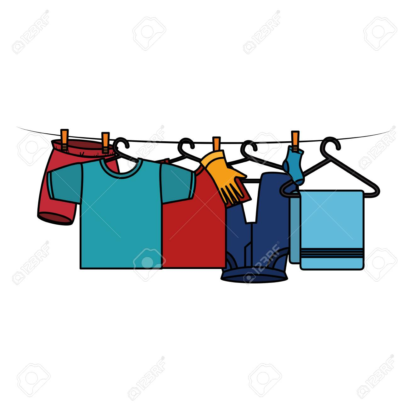 Clothes Drying On Wire Vector Illustration Design Royalty Free Clothing Dryer Wiring Diagram Stock 104046204