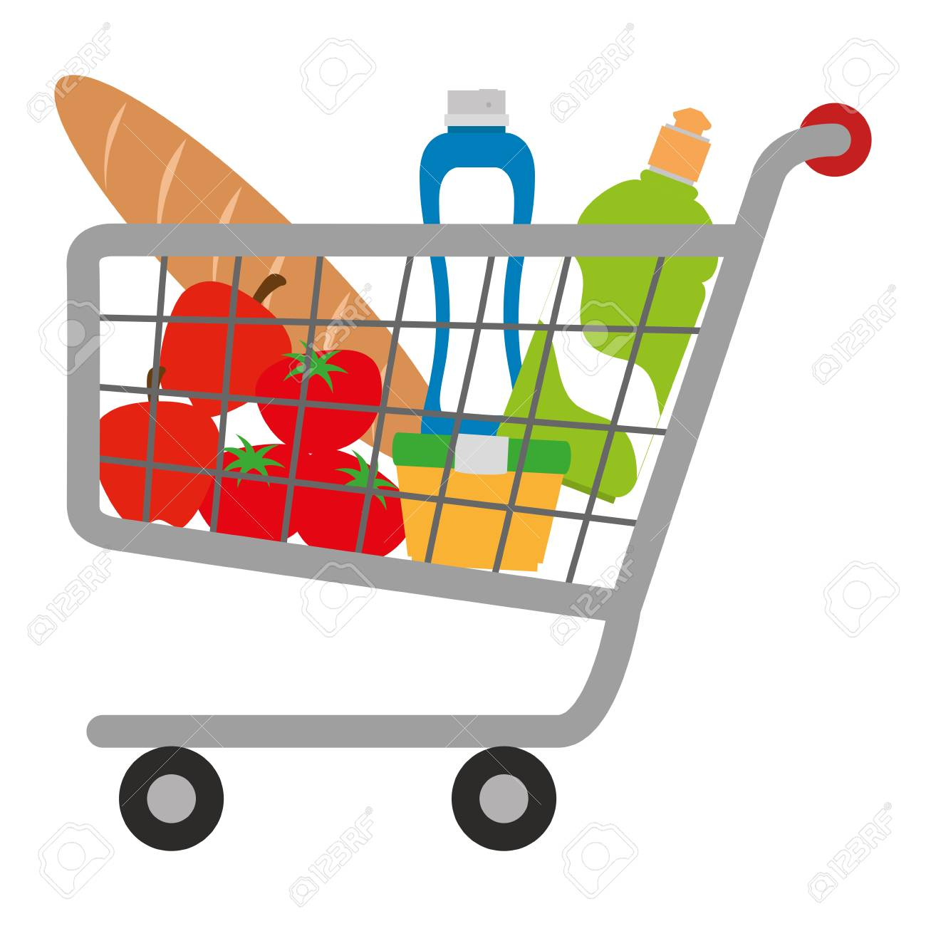 shopping cart with supermarket products vector illustration design - 104523158