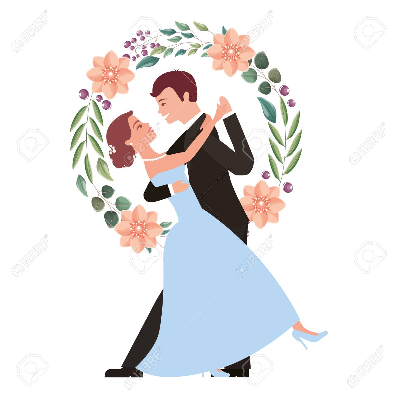 bride and groom and their first dance wedding day wreath flowers vector illustration - 104525114