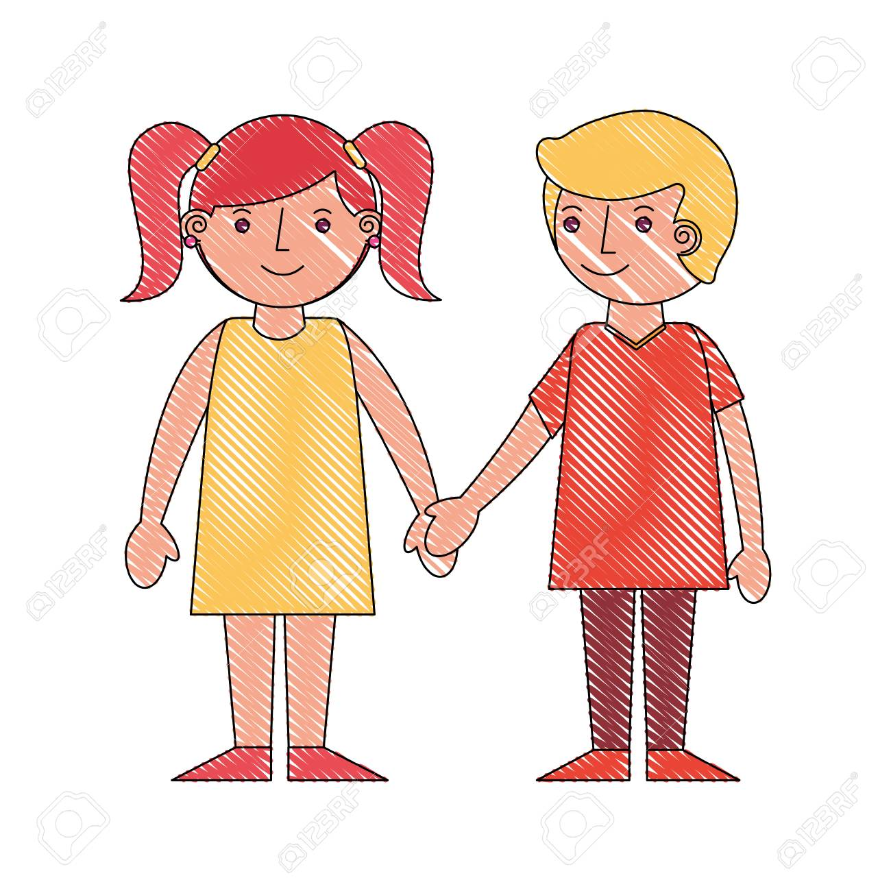 Cute boy and girl holding hands friends vector illustration drawing stock vector 114998298