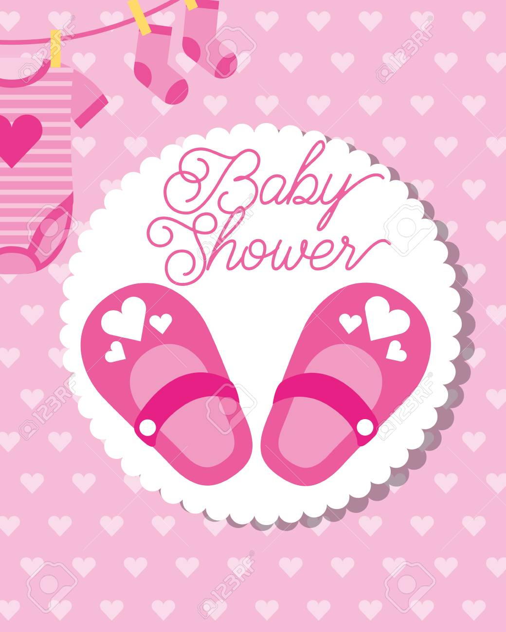 pink little shoes socks and bodysuit baby shower greeting card vector illustration - 114982313