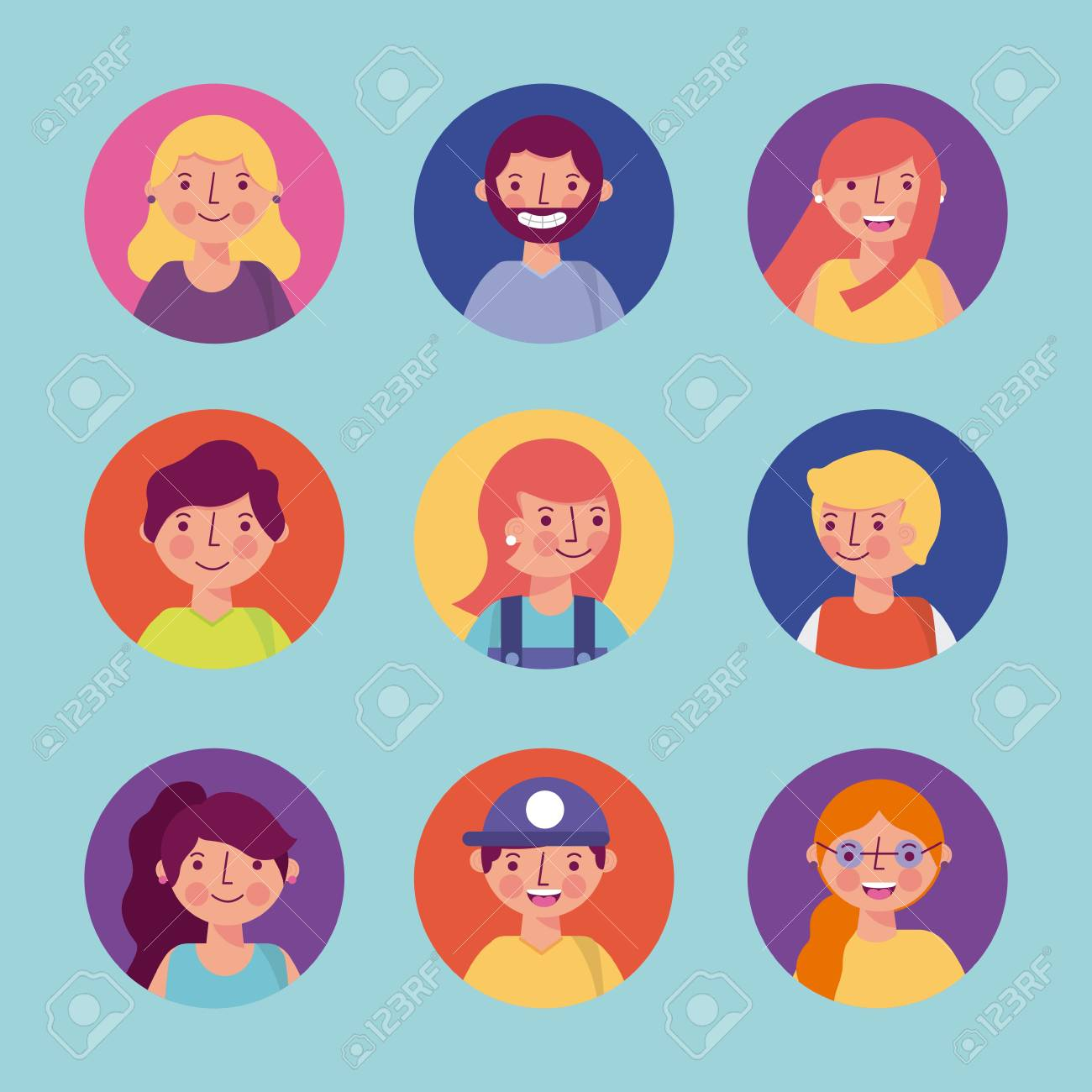 People woman man character stickers faces smiling portrait vector illustration stock vector 114982330