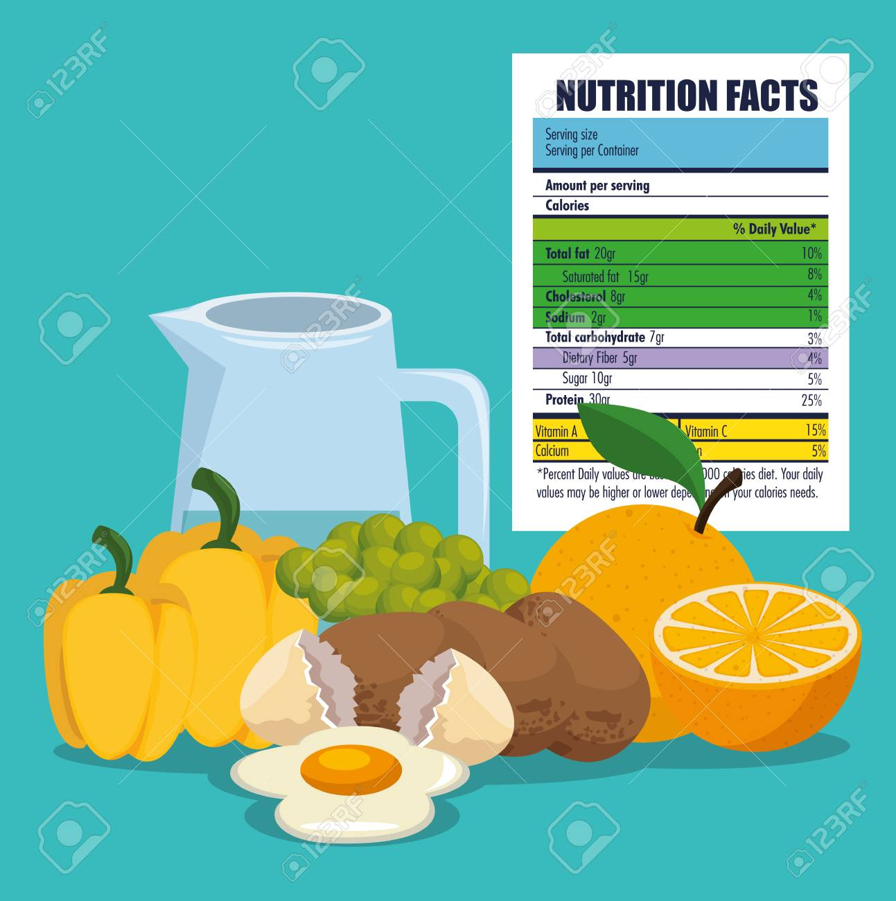 healthy food with nutritional facts vector illustration design - 105079906