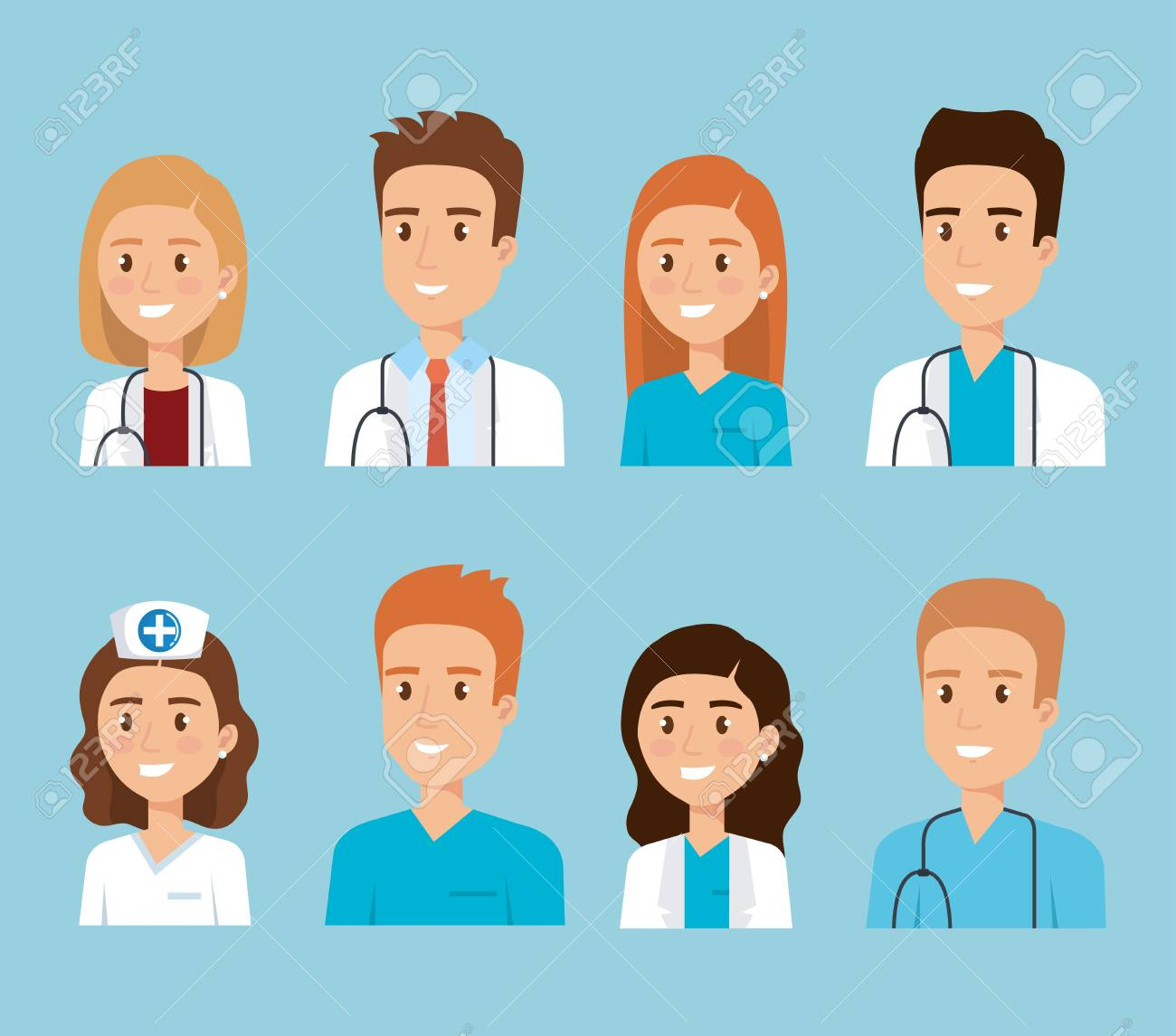 healthcare medical staff characters vector illustration design - 114876854