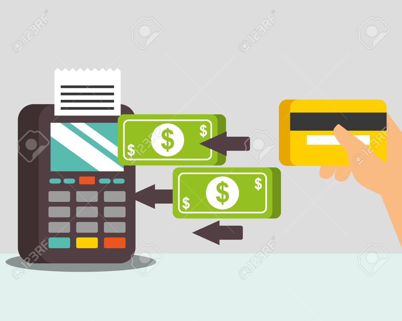 nfc payment technology transfer money dataphone hand holding credit card vector illustration - 112380581