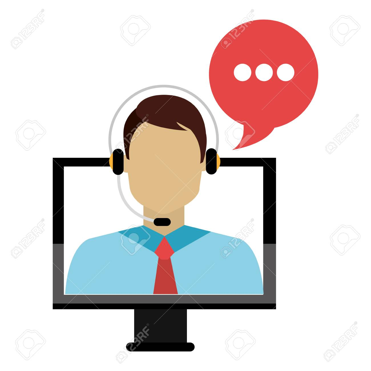 Call Center Agent With Headset And Computer Vector Illustration