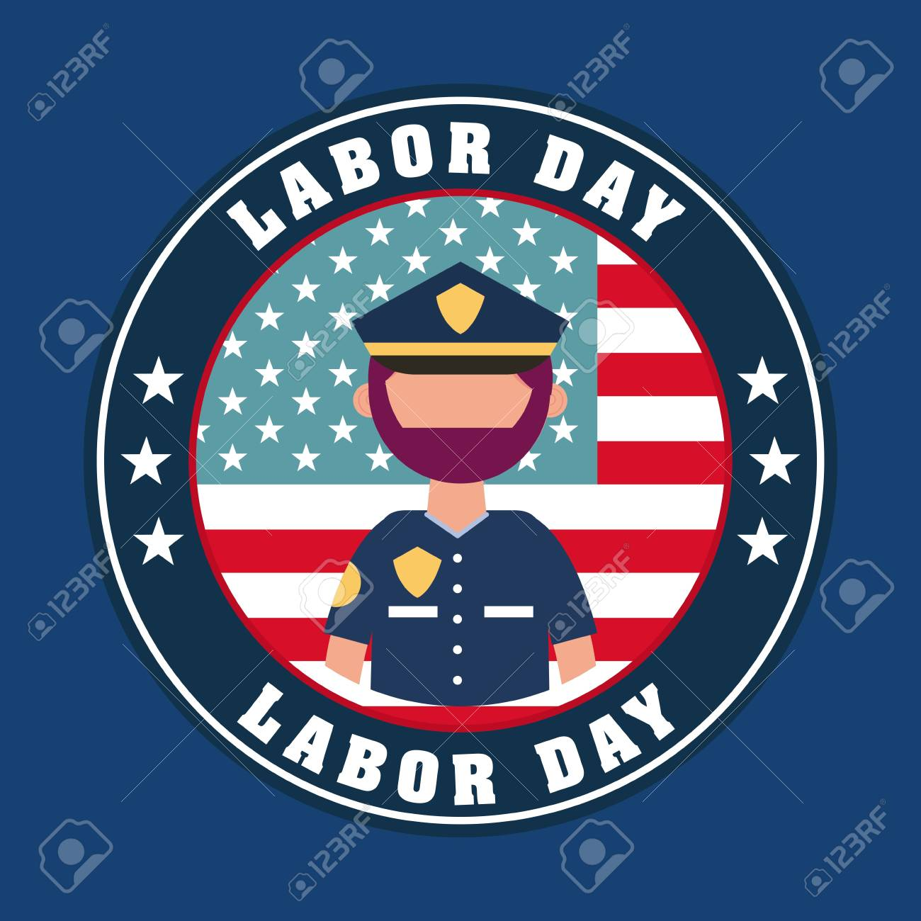 Labor Day Card Sticker American Flag Sign Police Man Vector