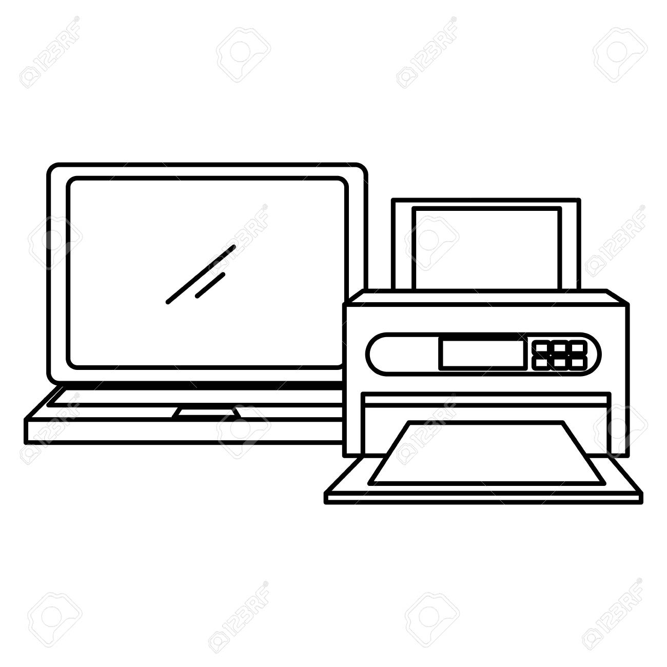 laptop computer with printer vector illustration design royalty free cliparts vectors and stock illustration image 112384690 123rf com