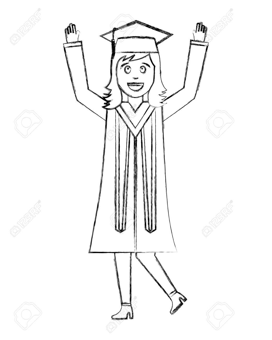Celebrating happy graduate woman in graduation dress vector illustration hand draw stock illustration 105630955