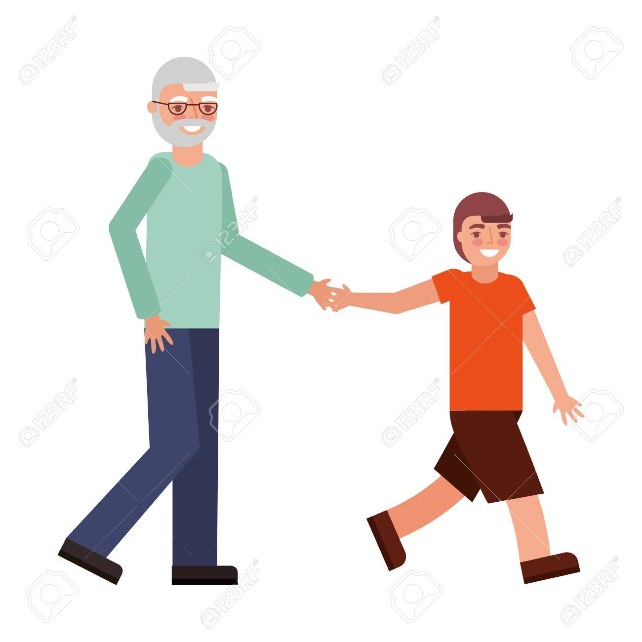 cute grandfather with grandson avatar character vector illustration design - 112385207