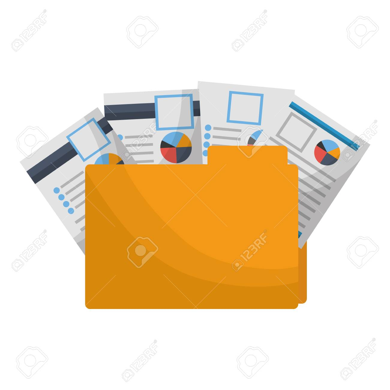 office folder file documents paper reports vector illustration - 112389548