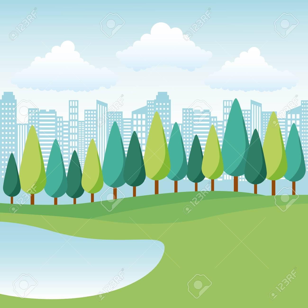natural park lake trees and city landscape vector illustration - 112326758