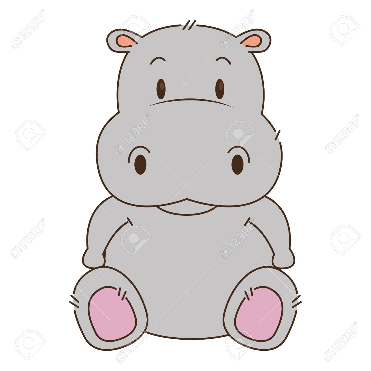 cute and adorable hippo character vector illustration design - 112326865