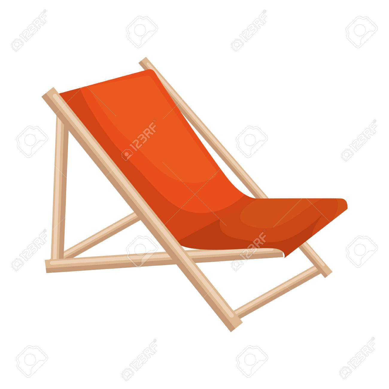 wooden beach chair icon vector illustration design - 112332423