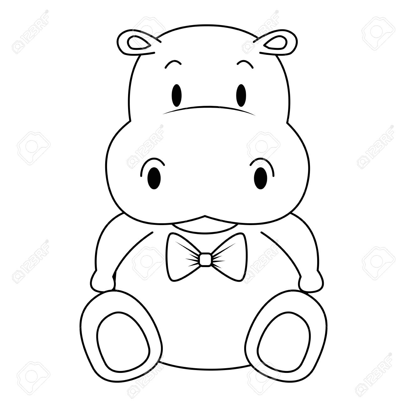 cute and adorable hippo character vector illustration design - 112282726