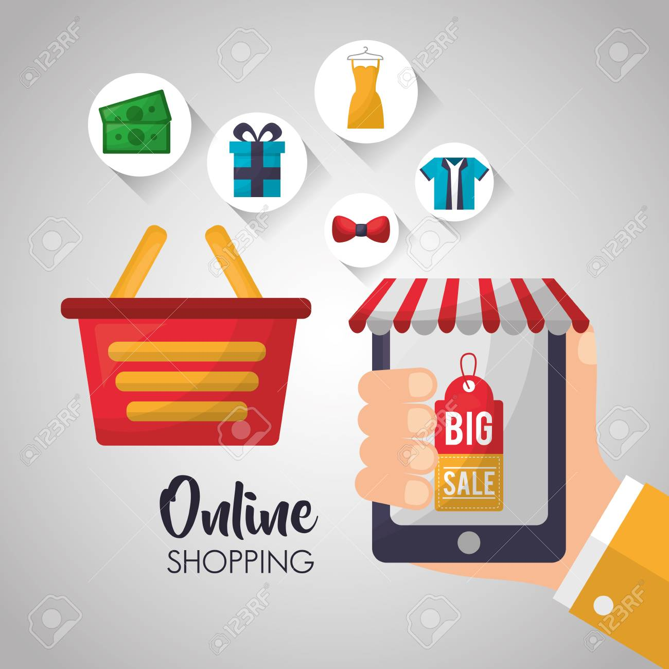 Online Shopping Hand Smartphone Shop Store Basket Accessories.. Royalty  Free Cliparts, Vectors, And Stock Illustration. Image 105858885.