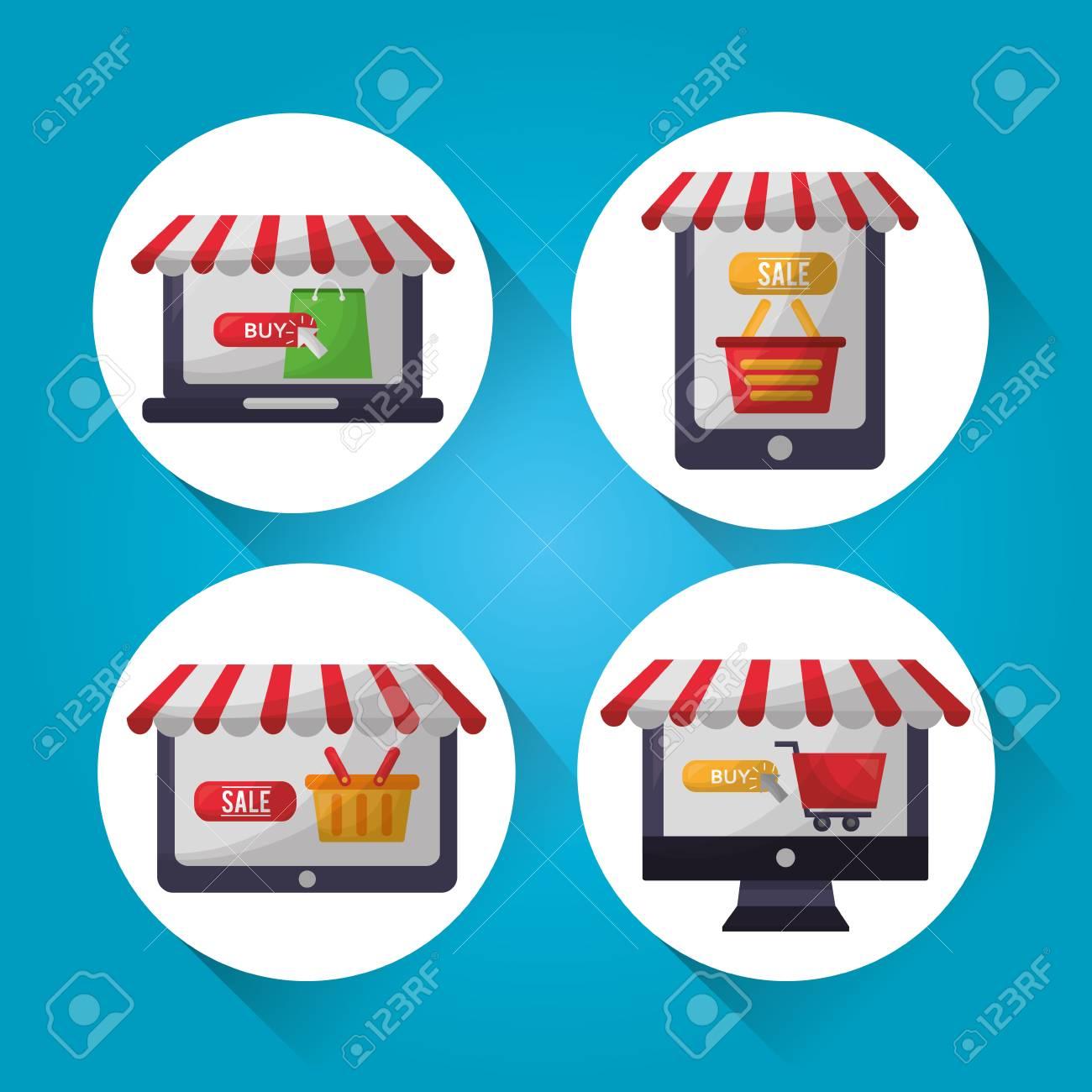 Online shopping stickers shop stores buy sale basket car vector illustration stock vector 112259063