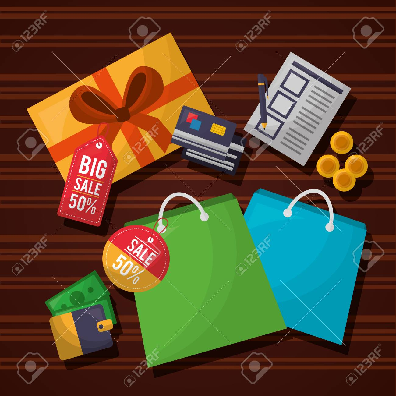 online shopping list coins shop bags colors wallet credit cards vector  illustration Stock Vector - 112259065 62f9236257133