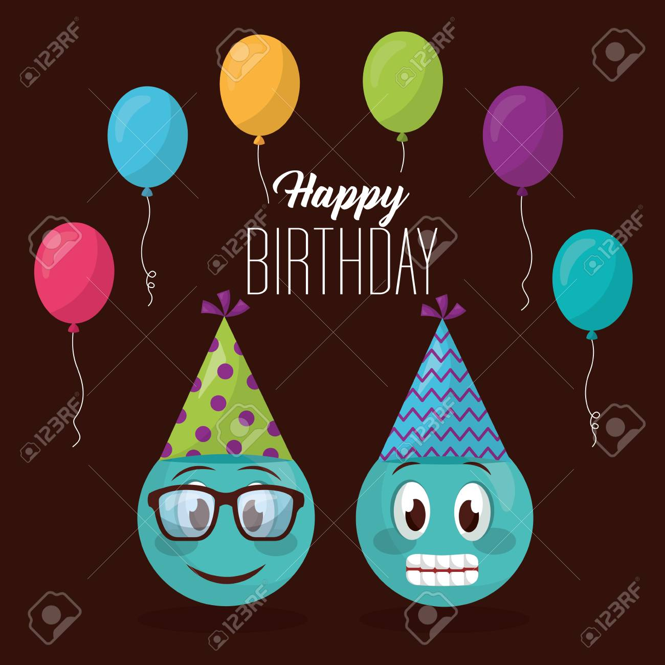 Happy Birthday Balloons Colors Party Hat Emojis Smiling Using Glasses Vector Illustration Stock