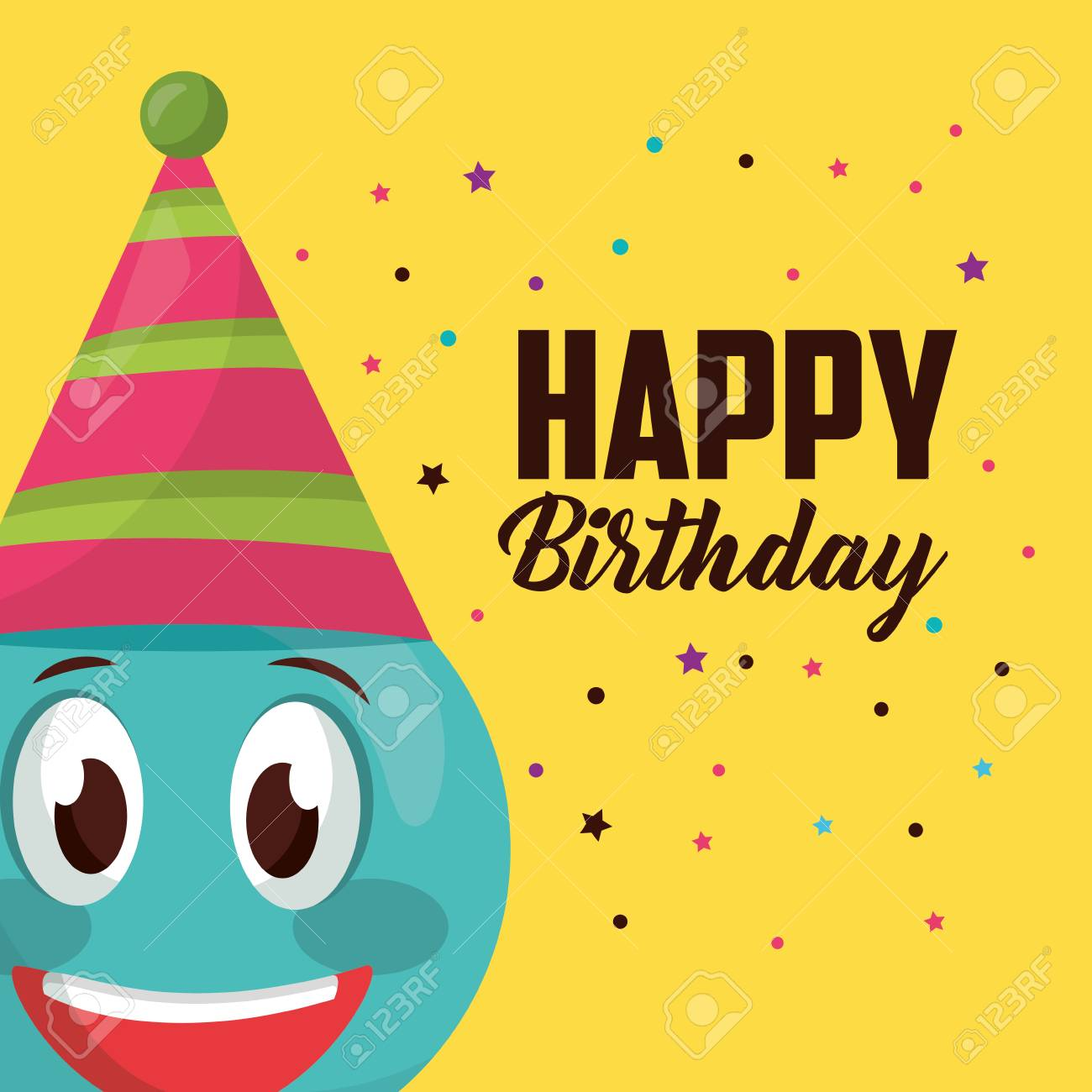 Happy Birthday Sign Celebration Emoji Smiling Party Hat Vector Illustration Stock