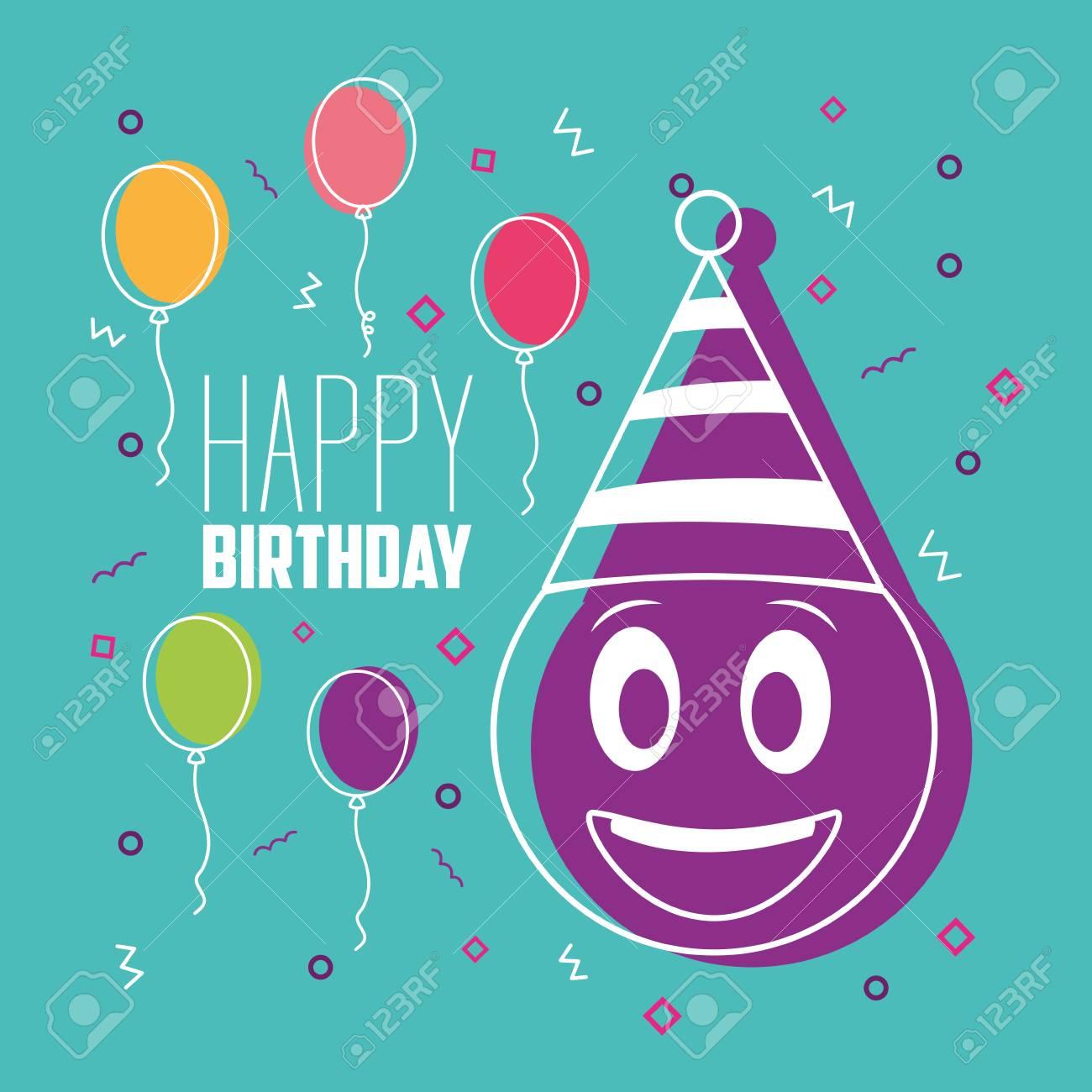 Happy Birthday Smiling Emoji Party Hat Balloons Colors Celebration Vector Illustration Stock