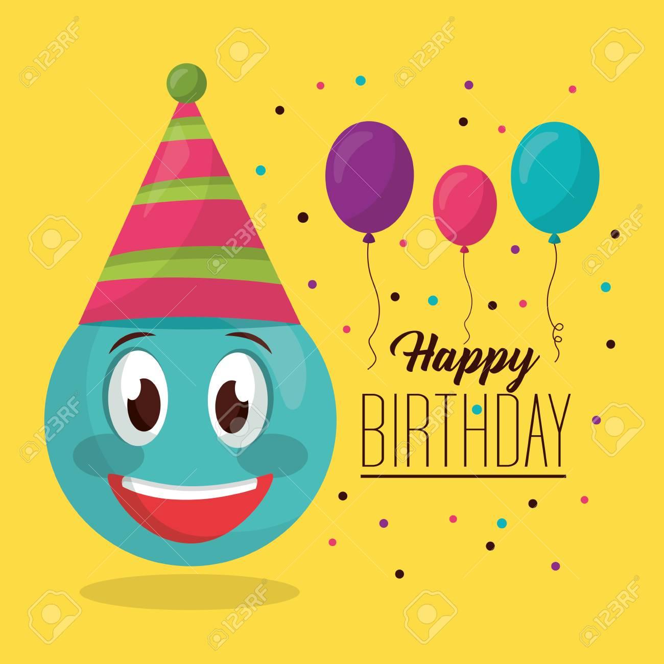 Happy Birthday Balloons Decoration Party Emoji Smiling Vector Illustration Stock