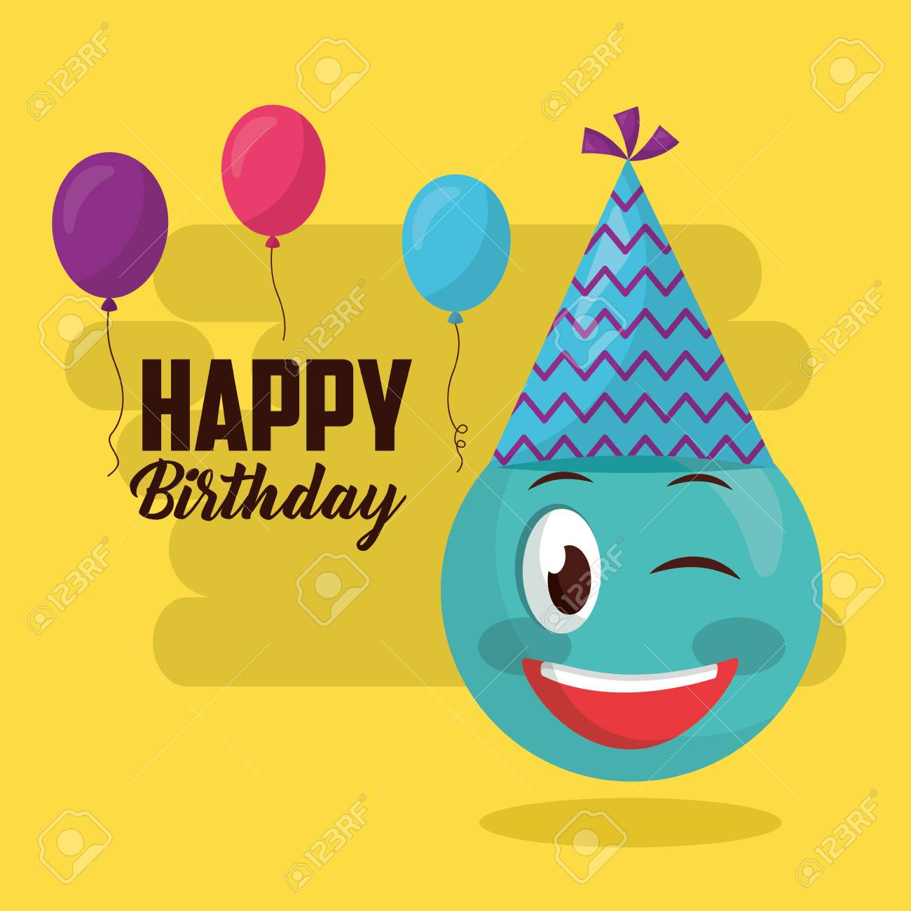 Happy Birthday Emoji Stinging The Eye Party Hat Balloons Sign Vector Illustration Stock