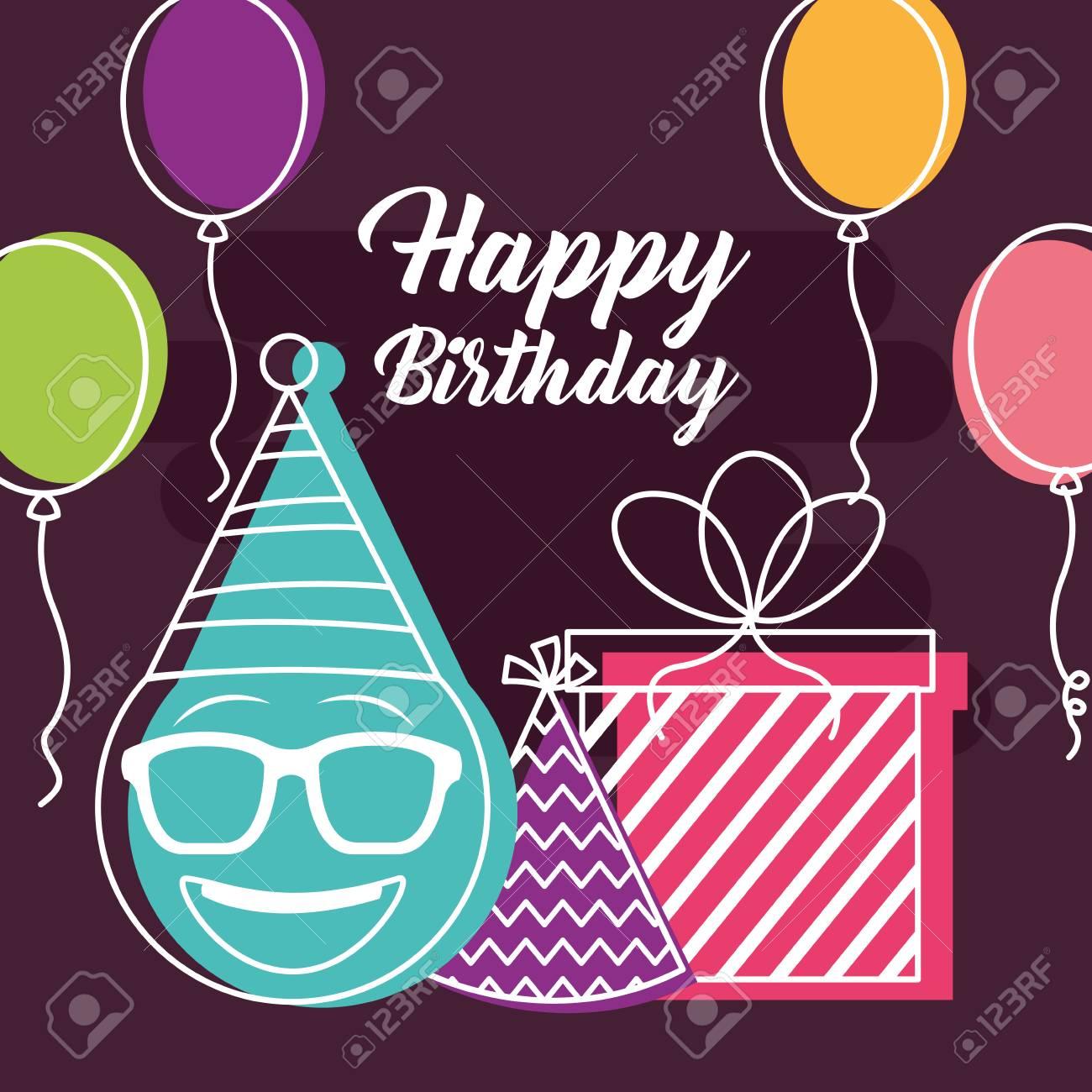 Happy Birthday Balloons Gift Box Emoji Using Glasses Party Hat Retro Style Vector Illustration Stock