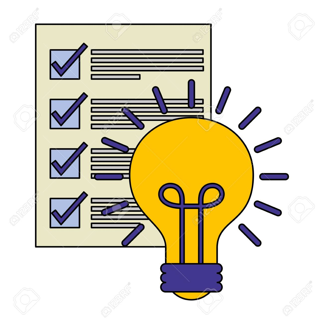 document file with light bulb isolated icon vector illustration design - 112066901