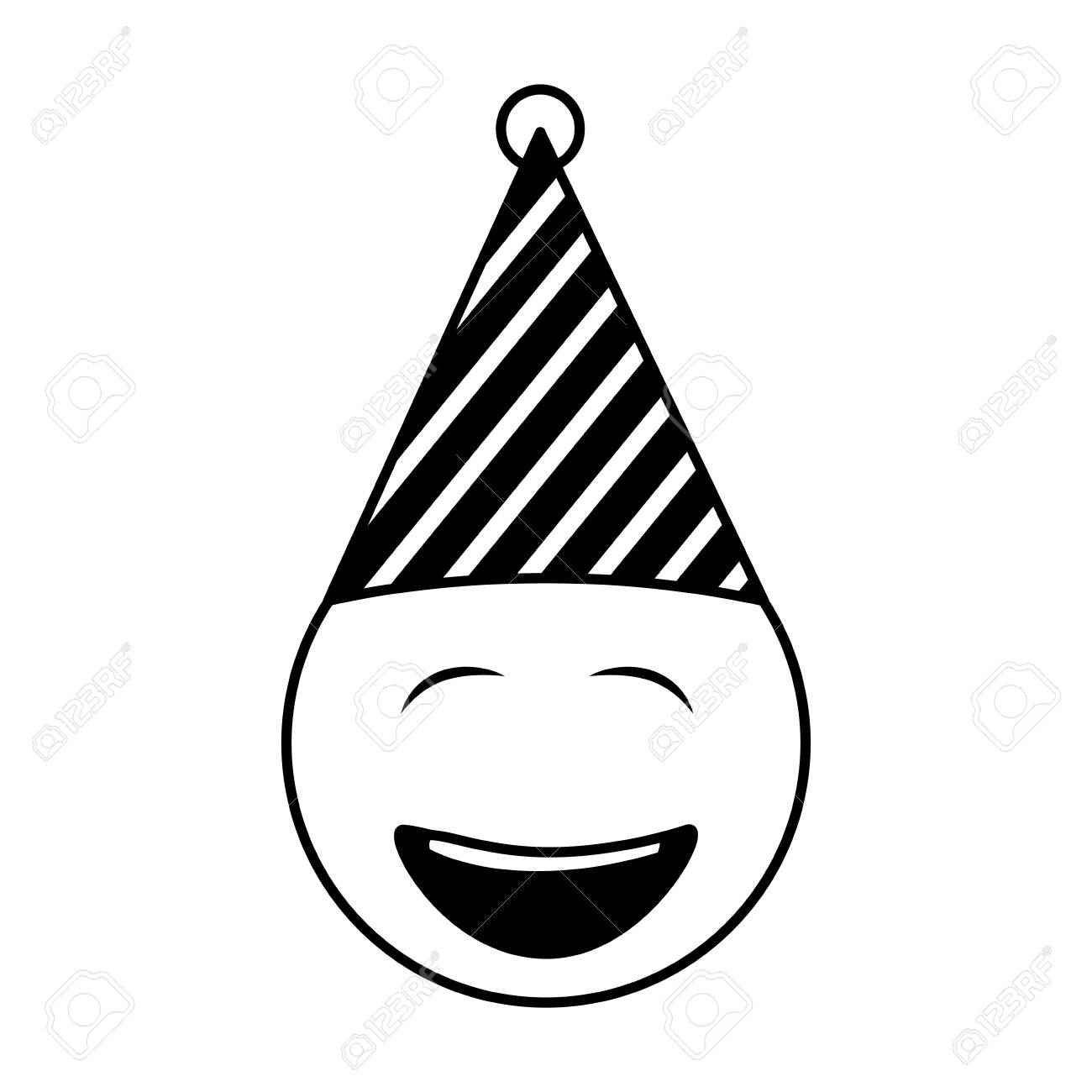 Birthday Face Closed Eyes Emoji Party Hat Vector Illustration Standard Bild