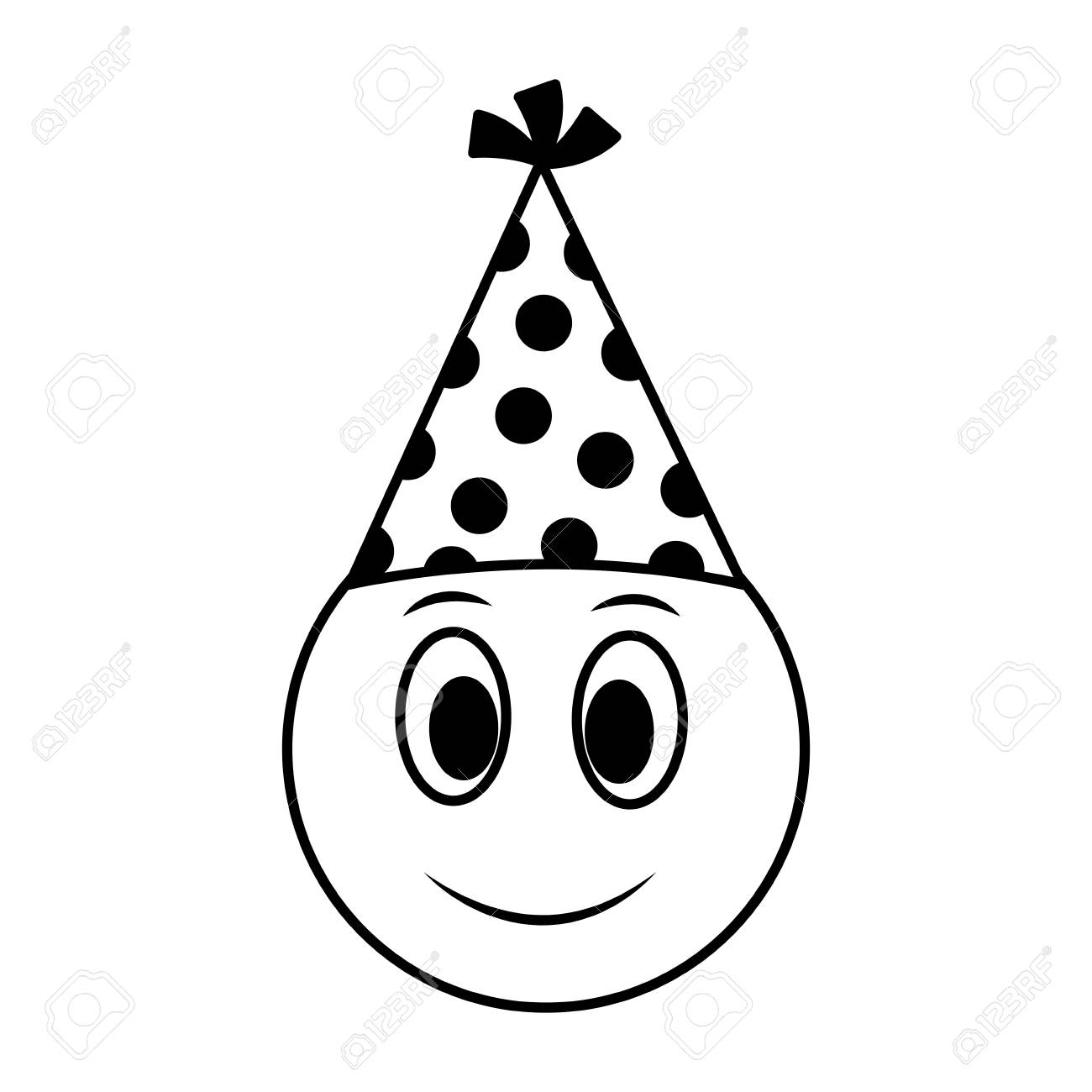 Birthday Happy Face Emoji Party Hat Vector Illustration Stock
